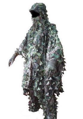 China 3D Leaves Camouflage Ghillie Poncho Camo Cape Cloak Stealth Ghillie Suit Military CS Woodland Hunting Poncho distributor