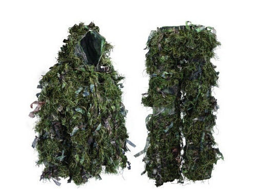 China Hybrid Woodland Camouflage Ghillie Suit Lightweight Adjustable Leaf Ghillie Suit factory