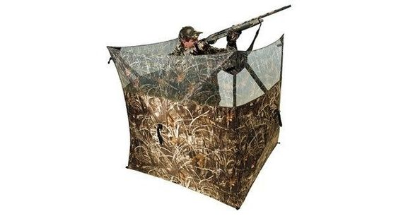 China Black Pu 300D Camo Polyester Camo Hunting Blind Three Sides Open Field Hunting Blind distributor